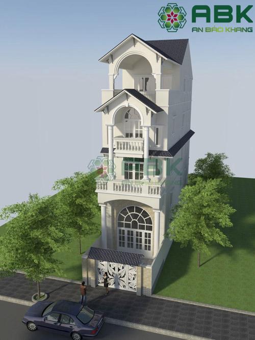 Nhìn qua mẫu thiết kế nhà phố 3 tầng rưỡi mái thái M09