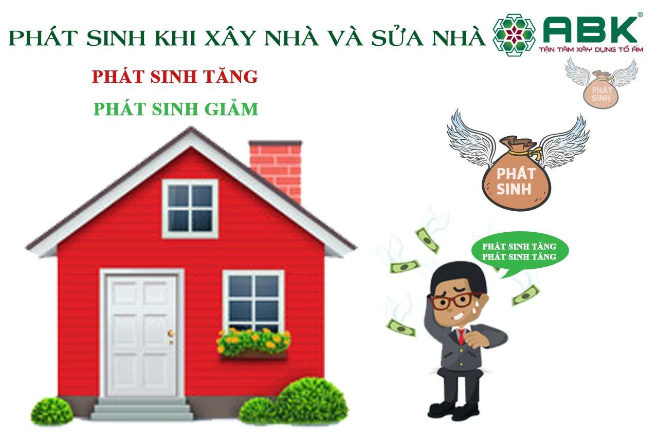 Chi phí phát sinh trong quá trình xây nhà hoặc sửa nhà